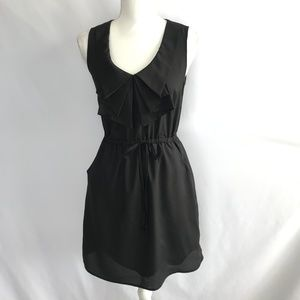 Bebop V-Neck Collar Lined Black Dress